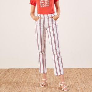 NWT REFORMATION Striped High Rise Cropped Jeans